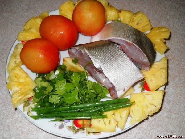 Nguyên liệu nấu cháo cá quả, dứa, cà chua
