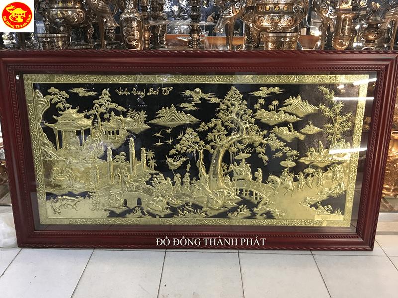Tranh Vinh Quy Bái Tổ đồng vàng đẹp chạm tay tinh xảo sắc nét 100%