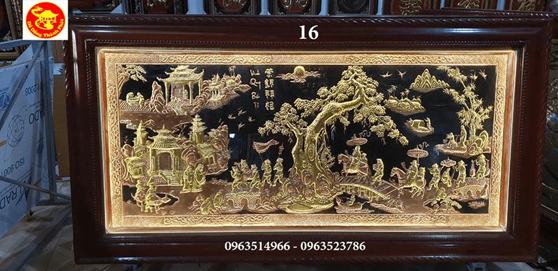 Tranh đồng vinh quy bái tổ đồng vàng nhật rộng 1,2m và dài 2,3m